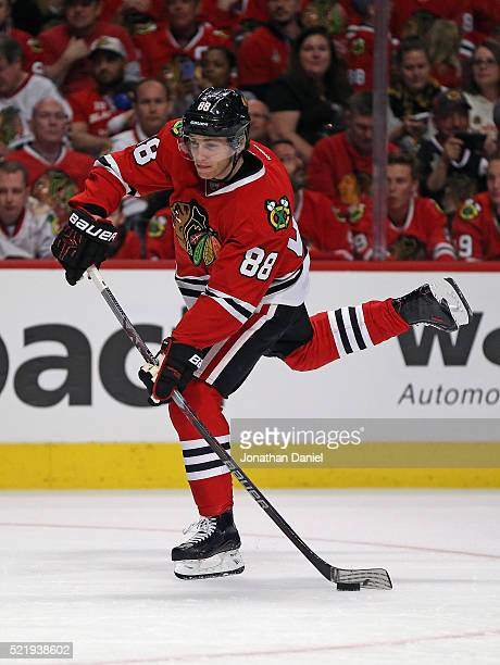 Patrick Kane of the Chicago Blackhawks gets off a shot against the St Louis Blues in Game Three of the Western Conference Quarterfinals during the...