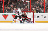 Patrick Kane of the Chicago Blackhawks hits the crossbar against Craig Anderson of the Ottawa Senators on his shootout attempt at Canadian Tire...