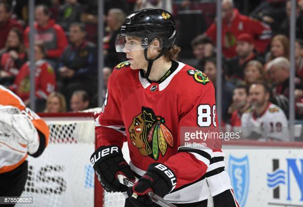 Patrick Kane of the Chicago Blackhawks looks down the ice in the third period against the Philadelphia Flyers at the United Center on November 1 2017...