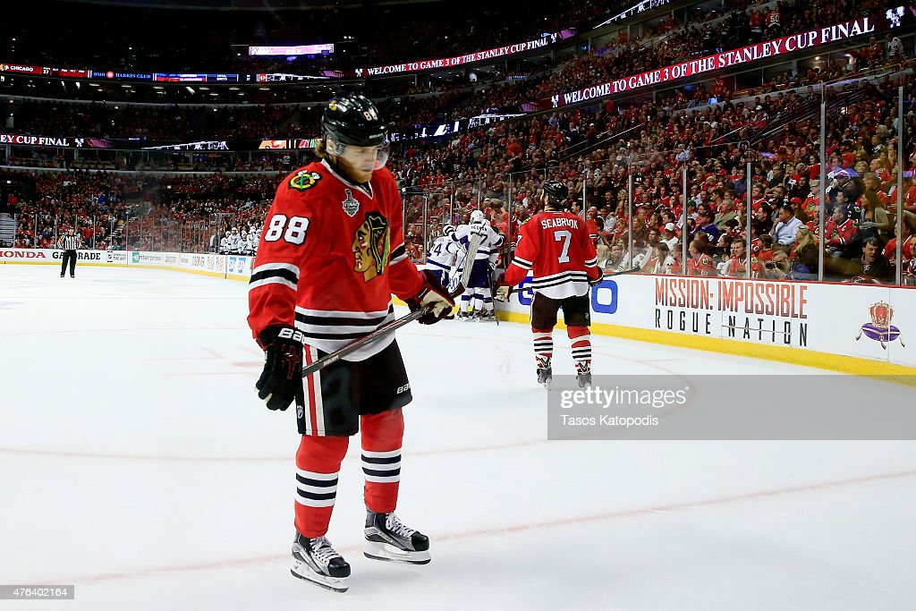 <a gi-track='captionPersonalityLinkClicked' href=/galleries/search?phrase=Patrick+Kane&family=editorial&specificpeople=1977261 ng-click='$event.stopPropagation()'>Patrick Kane</a> #88 of the Chicago Blackhawks reacts after a goal scored by <a gi-track='captionPersonalityLinkClicked' href=/galleries/search?phrase=Cedric+Paquette&family=editorial&specificpeople=9491385 ng-click='$event.stopPropagation()'>Cedric Paquette</a> #13 of the Tampa Bay Lightning in the third period against the Chicago Blackhawks during Game Three of the 2015 NHL Stanley Cup Final at the United Center on June 8, 2015 in Chicago, Illinois.