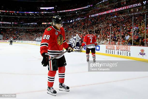 Patrick Kane of the Chicago Blackhawks reacts after a goal scored by Cedric Paquette of the Tampa Bay Lightning in the third period against the...