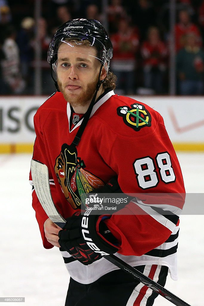 Patrick Kane #88 of the Chicago Blackhawks reacts after losing in overtime 5 to 4 against the Los Angeles Kings in Game Seven to win the Western Conference Final in the 2014 Stanley Cup Playoffs at United Center on June 1, 2014 in Chicago, Illinois.