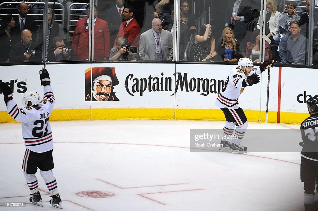 Patrick Kane #88 of the Chicago Blackhawks reacts after scoring a goal against the Los Angeles Kings in Game Six of the Western Conference Final during the 2014 Stanley Cup Playoffs at Staples Center on May 30, 2014 in Los Angeles, California.