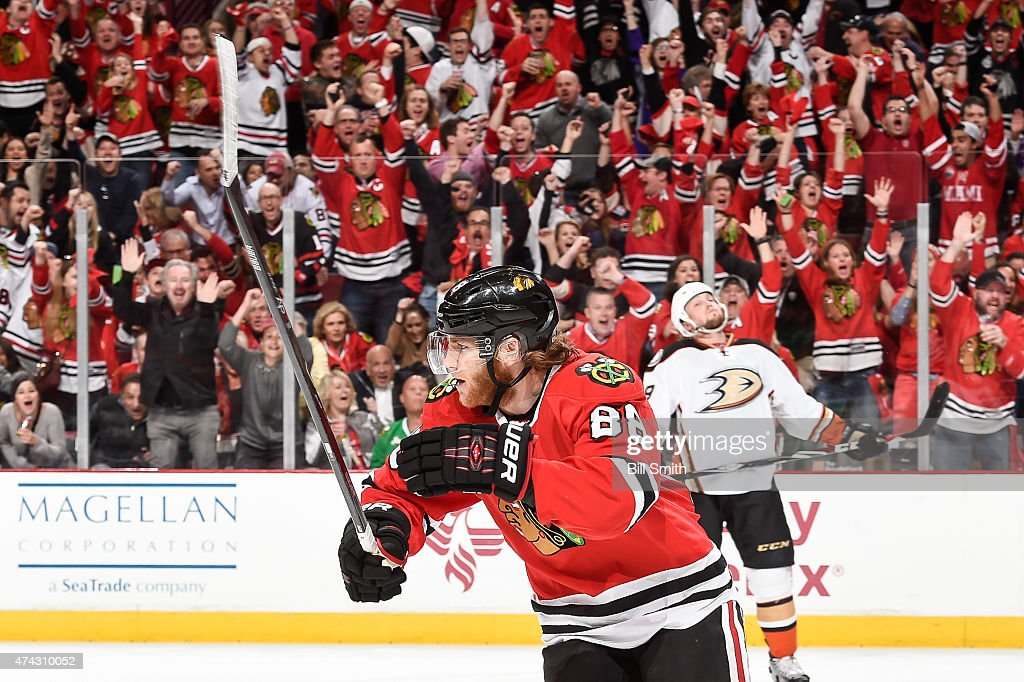 <a gi-track='captionPersonalityLinkClicked' href=/galleries/search?phrase=Patrick+Kane&family=editorial&specificpeople=1977261 ng-click='$event.stopPropagation()'>Patrick Kane</a> #88 of the Chicago Blackhawks reacts after scoring against the Anaheim Ducks in the first period in Game Three of the Western Conference Finals during the 2015 NHL Stanley Cup Playoffs at the United Center on May 21, 2015 in Chicago, Illinois.