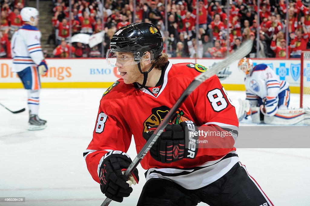 <a gi-track='captionPersonalityLinkClicked' href=/galleries/search?phrase=Patrick+Kane&family=editorial&specificpeople=1977261 ng-click='$event.stopPropagation()'>Patrick Kane</a> #88 of the Chicago Blackhawks reacts after scoring in the third period of the NHL game against the Edmonton Oilers at the United Center on November 8, 2015 in Chicago, Illinois.