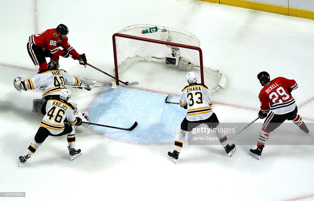 Patrick Kane #88 of the Chicago Blackhawks scored a goal in the first period against Tuukka Rask #40 of the Boston Bruins in Game Five of the 2013 NHL Stanley Cup Final at United Center on June 22, 2013 in Chicago, Illinois.