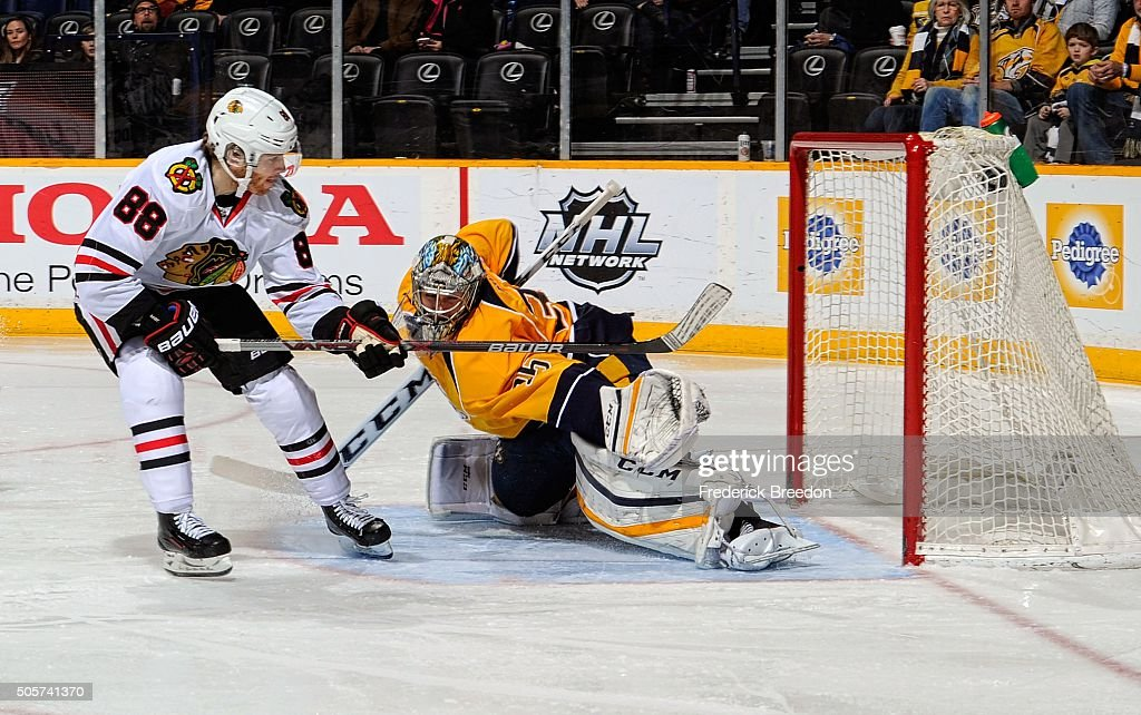 Patrick Kane #88 of the Chicago Blackhawks scores a breakaway goal against goalie Pekka Rinne #35 of the Nashville Predators during the second period at Bridgestone Arena on January 19, 2016 in Nashville, Tennessee.