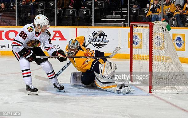 Patrick Kane of the Chicago Blackhawks scores a breakaway goal against goalie Pekka Rinne of the Nashville Predators during the second period at...