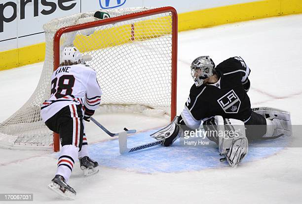 Patrick Kane of the Chicago Blackhawks scores against goaltender Jonathan Quick of the Los Angeles Kings in the second period of Game Four of the...