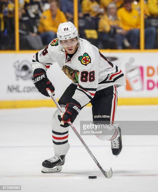 Patrick Kane of the Chicago Blackhawks skates against the Nashville Predators in Game Four of the Western Conference First Round during the 2017 NHL...