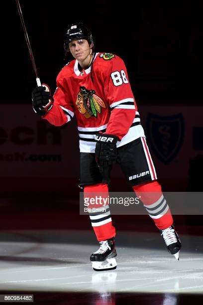 Patrick Kane of the Chicago Blackhawks skates during the pregame ceremonies prior to the game against the Pittsburgh Penguins at the United Center on...