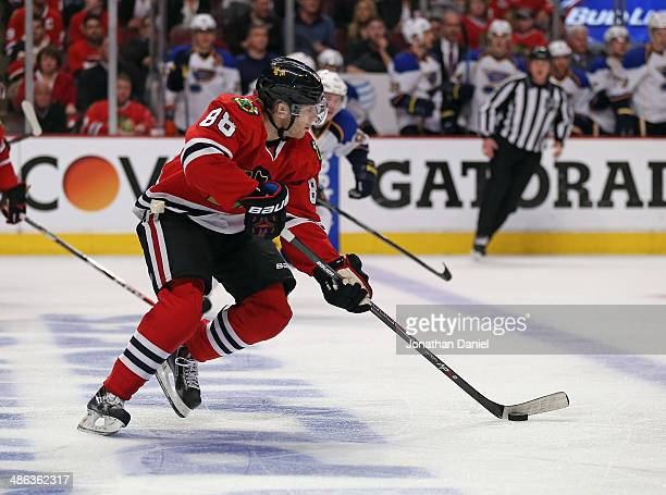 Patrick Kane of the Chicago Blackhawks skates up the ice on his way to scoring the gamewinning goal against the St Louis Blues in Game Four of the...