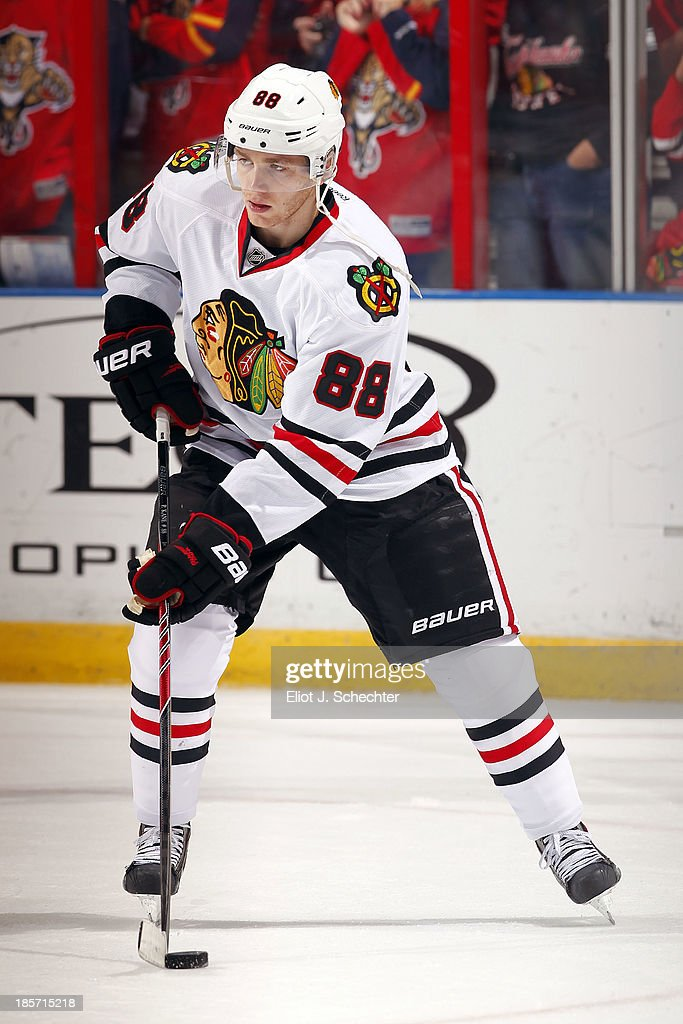 Patrick Kane #88 of the Chicago Blackhawks skates with the puck prior to the start of the game against the Florida Panthers at the BB&T Center on October 22, 2013 in Sunrise, Florida.