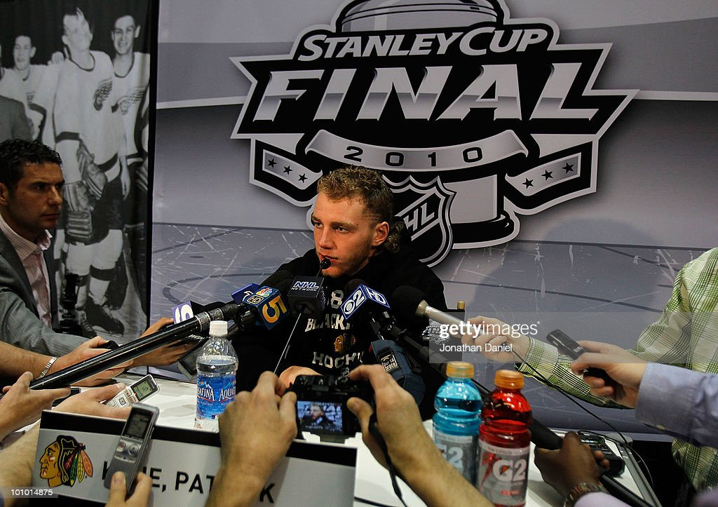 Patrick Kane of the Chicago Blackhawks talks with reporters during Stanley Cup media day at the United Center on May 27, 2010 in Chicago, Illinois.