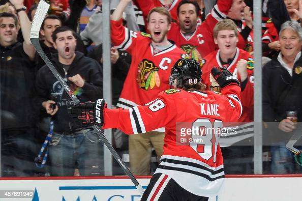 Patrick Kane of the Chicago Blackhawks turns to the fans after scoring against the Minnesota Wild in the third period in Game One of the Second Round...