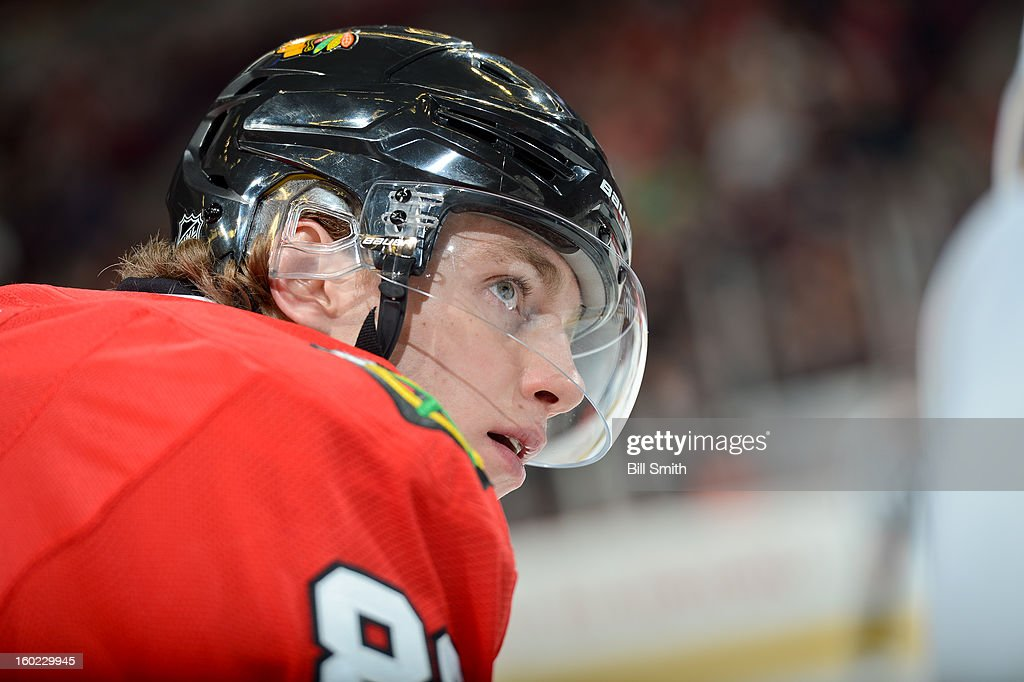 Patrick Kane #88 of the Chicago Blackhawks waits for play to begin during the NHL game against the St. Louis Blues on January 22, 2013 at the United Center in Chicago, Illinois.