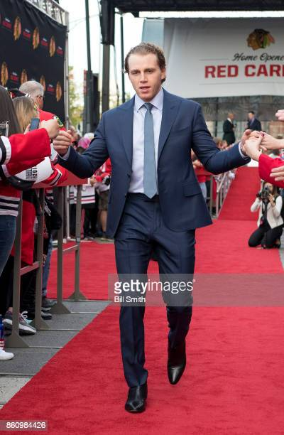 Patrick Kane of the Chicago Blackhawks walks the red carpet prior to the game against the Pittsburgh Penguins at the United Center on October 5 2017...