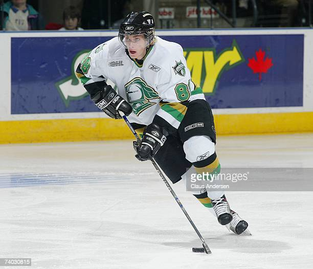 Patrick Kane of the London Knights skates against the Plymouth Whalers in game five of the Western Conference Final on April 26 2007 at the John...