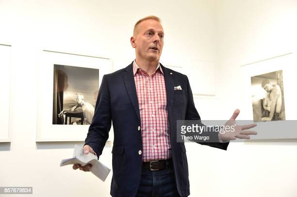 Patrick Key speaks at 'Stephen Barker The ACT UP Portraits Activists Avatars 19911994' Exhibition on October 4 2017 in New York City