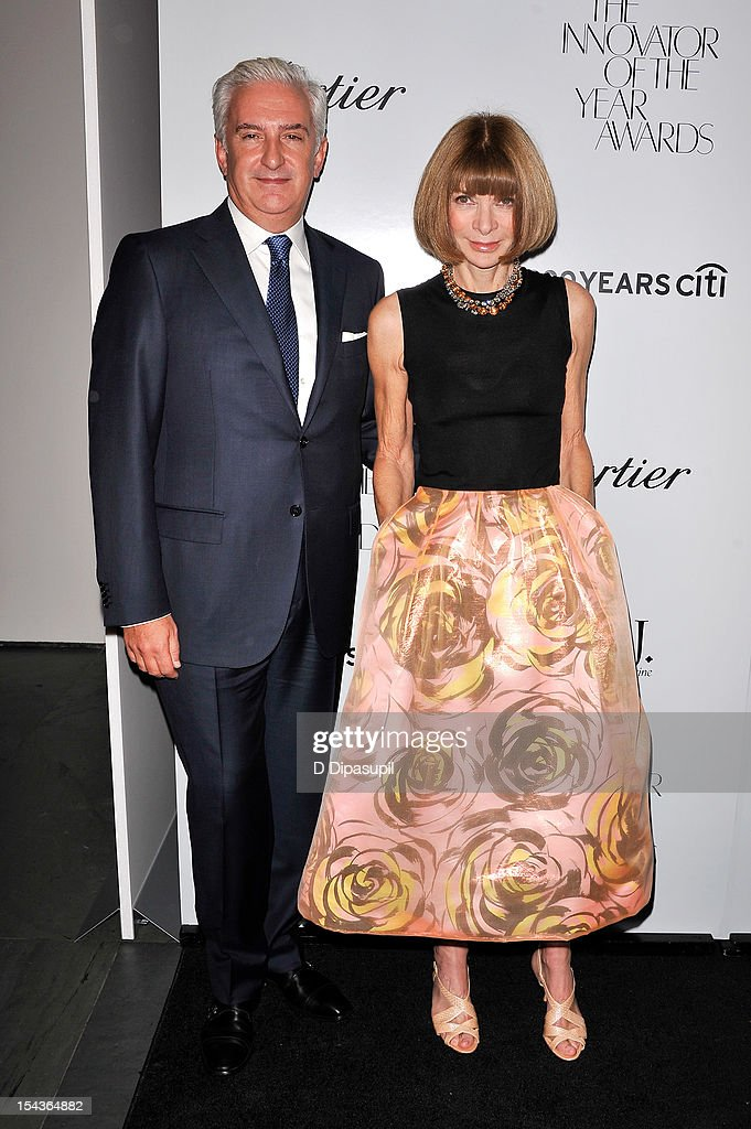 Patrick Kinmonth (L) and American Vogue editor-in-chief <a gi-track='captionPersonalityLinkClicked' href=/galleries/search?phrase=Anna+Wintour&family=editorial&specificpeople=202210 ng-click='$event.stopPropagation()'>Anna Wintour</a> attend the 2012 WSJ. Magazine 'Innovator Of The Year' Awards at the Museum of Modern Art on October 18, 2012 in New York City.