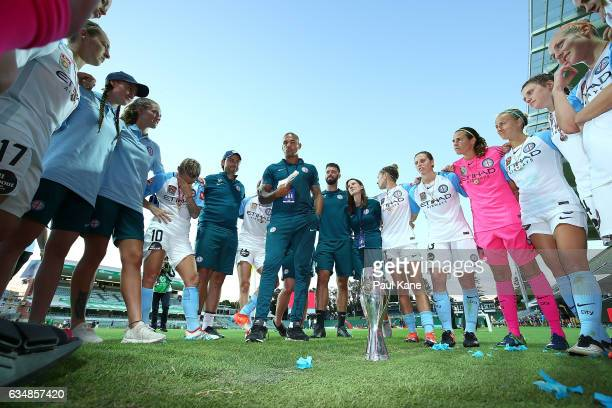 Patrick Kisnorbo assistant coach of Melbourne City addresses the players after winning the 2017 WLeague Grand Final match between the Perth Glory and...