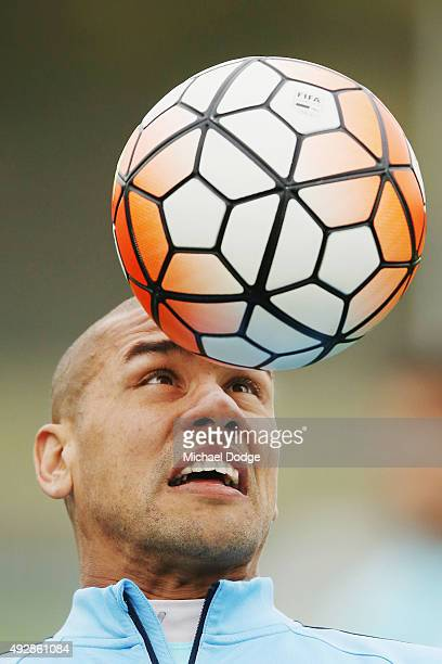 Patrick Kisnorbo headers the ball during a Melbourne City FC training session at City Football Academy on October 16 2015 in Melbourne Australia