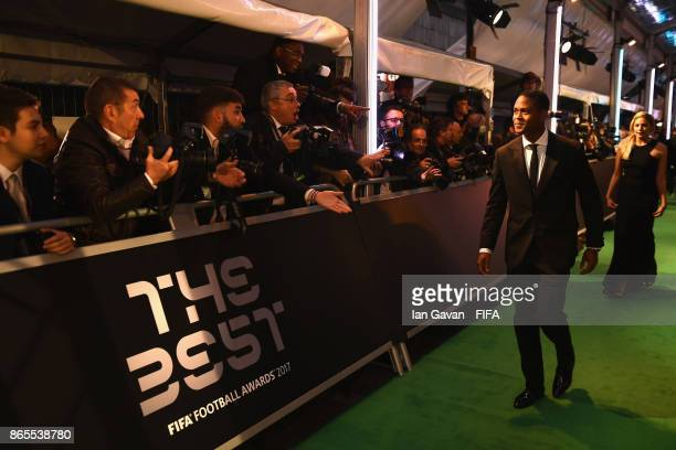Patrick Kluivert arrives on the green carpet for The Best FIFA Football Awards at The London Palladium on October 23 2017 in London England