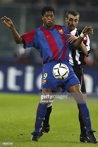 Patrick Kluivert of Barcelona shields the ball from Paolo Montero of Juventus during the UEFA Champions League quarterfinals first leg match held on...