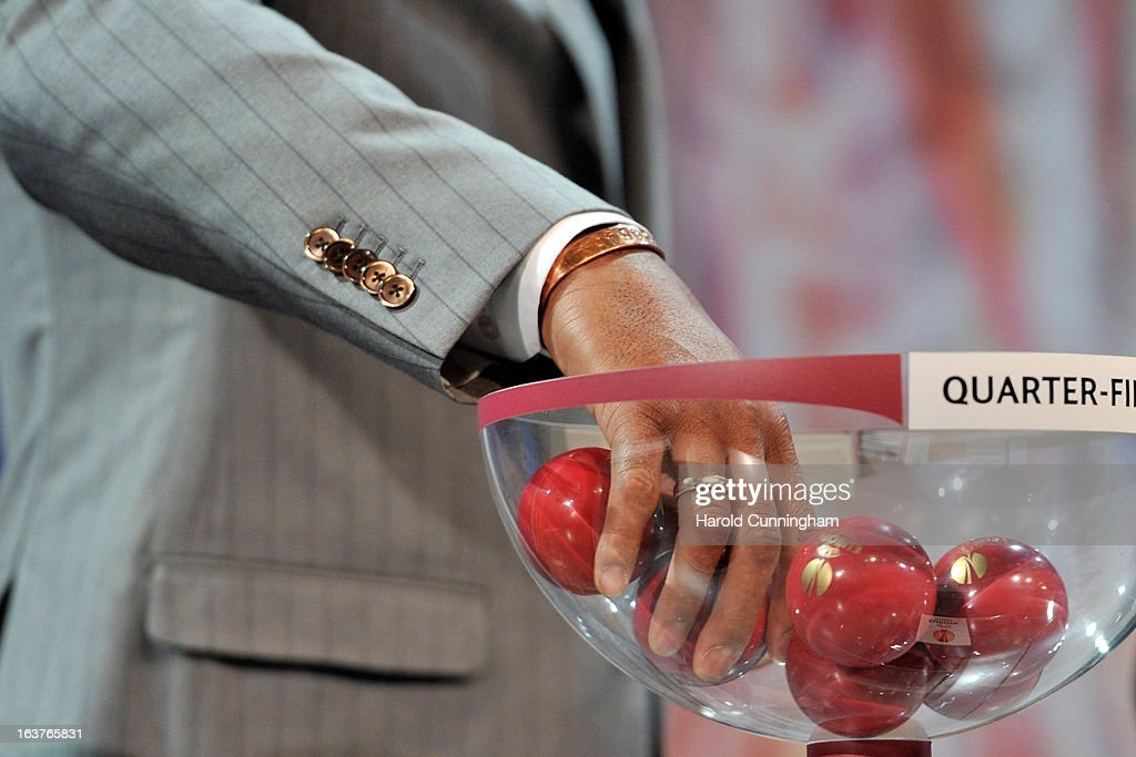 Patrick Kluivert, UEFA Europa League Final Ambassador, draws a ball during the UEFA Europa League quarter finals draw at the UEFA headquarters on March 15, 2013 in Nyon, Switzerland.