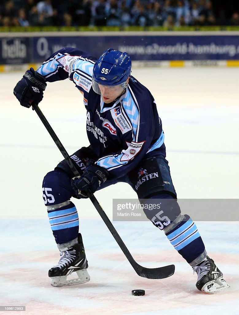 <a gi-track='captionPersonalityLinkClicked' href=/galleries/search?phrase=Patrick+Koeppchen&family=editorial&specificpeople=708643 ng-click='$event.stopPropagation()'>Patrick Koeppchen</a> of Hamburg skates up the ice against Adler Mannheim during the DEL match between Hamburg Freezers and Adler Mannheim at O2 World on January 18, 2013 in Hamburg, Germany.