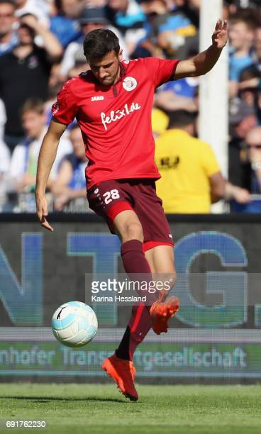 Patrick Koronkiewicz of Koeln during the Third League Playoff Leg Two between FC Carl Zeiss Jena and Viktoria Koeln on June 01 2017 at...