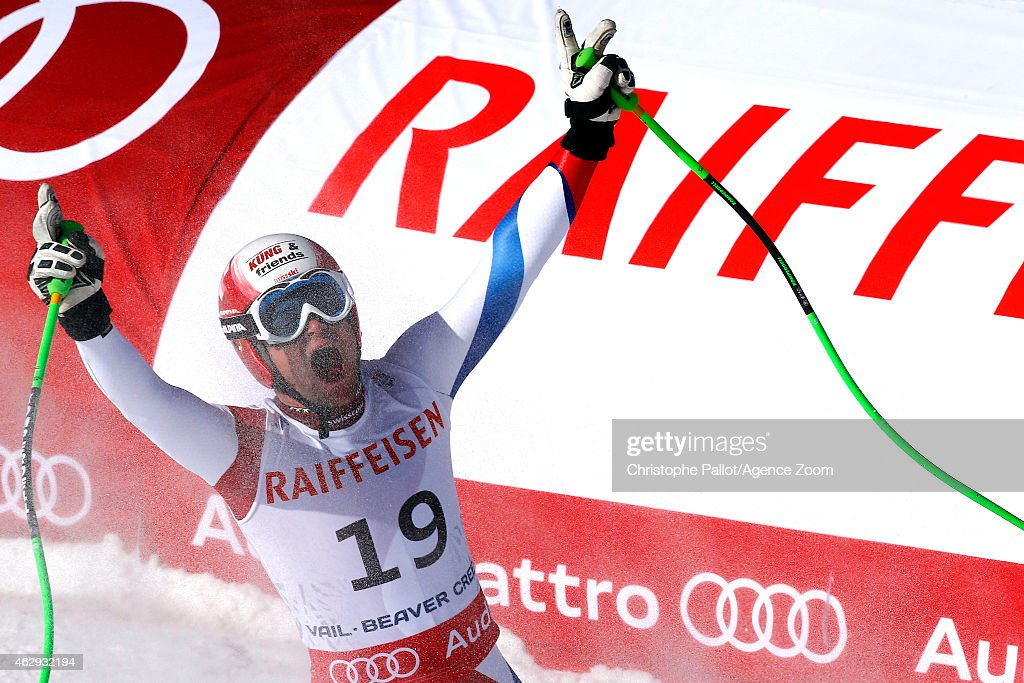 Patrick Kueng of Switzerland celebrates after winning the gold medal during the FIS Alpine World Ski Championships Men's Downhill on February 07, 2015 in Beaver Creek, Colorado.