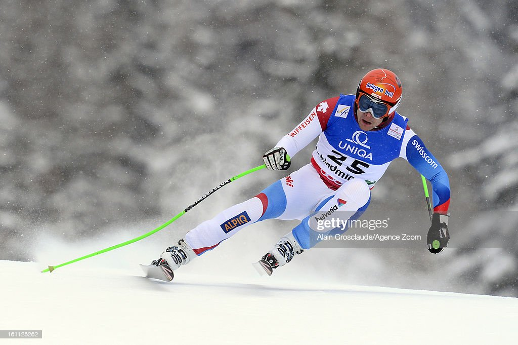 Patrick Kueng of Switzerland competes during the Audi FIS Alpine Ski World Championships Men's Downhill on February 09, 2013 in Schladming, Austria.