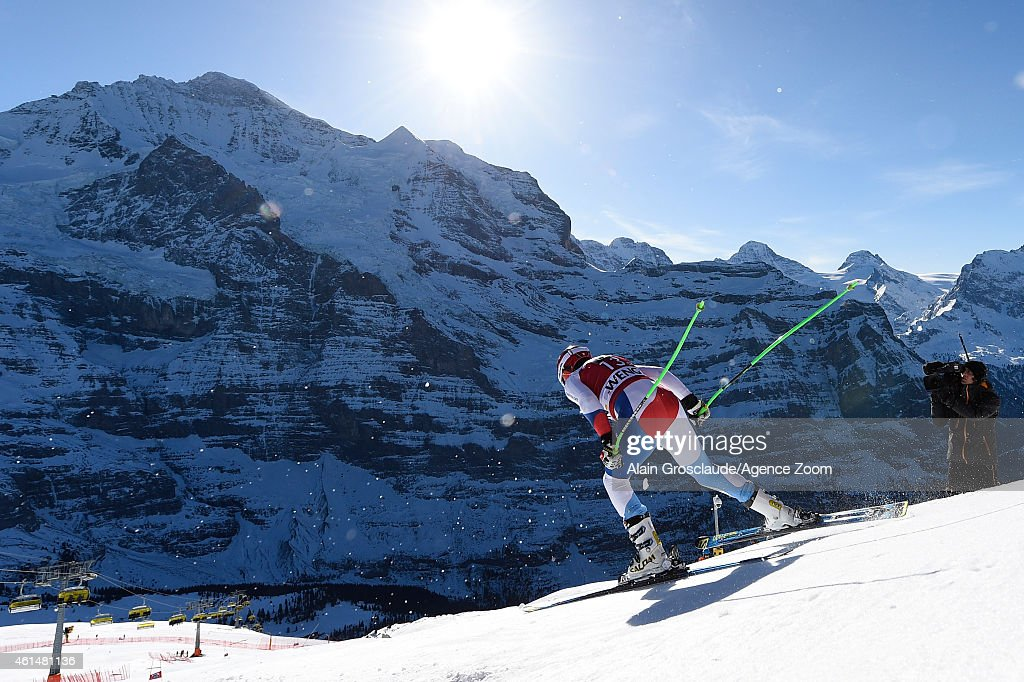 Patrick Kueng of Switzerland competes during the Audi FIS Alpine Ski World Cup Men's Downhill Training on January 13 2015 in Wengen Switzerland