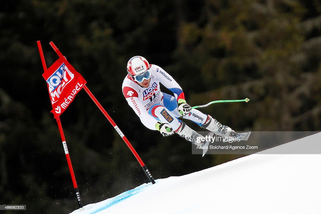 Patrick Kueng of Switzerland competes during the Audi FIS Alpine Ski World Cup Finals Men's Downhill Training on March 17, 2015 in Meribel, France.
