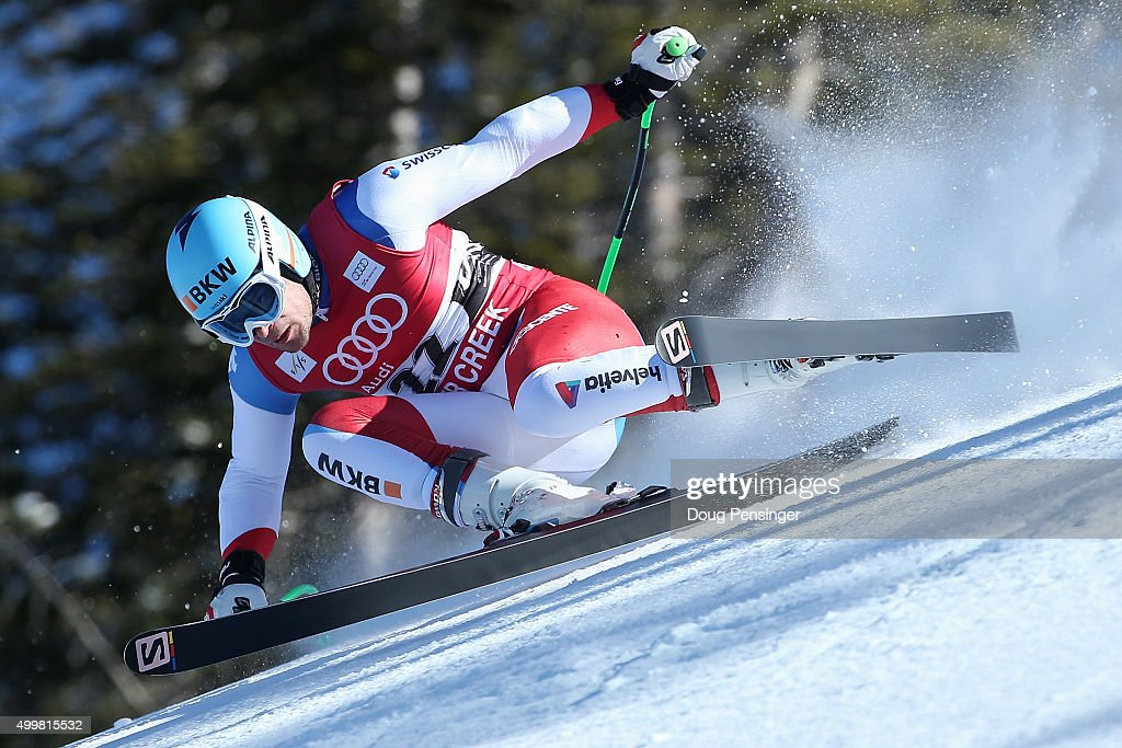 Patrick Kueng of Switzerland descends the course during downhill training for the Audi FIS Ski World Cup on the Birds of Prey on December 3, 2015 in Beaver Creek, Colorado.