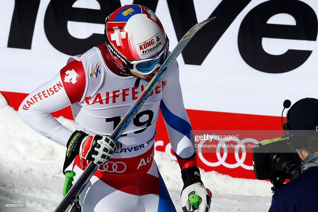 Patrick Kueng of Switzerland kisses his skis after winning the gold medal during the FIS Alpine World Ski Championships Men's Downhill on February 07, 2015 in Beaver Creek, Colorado.