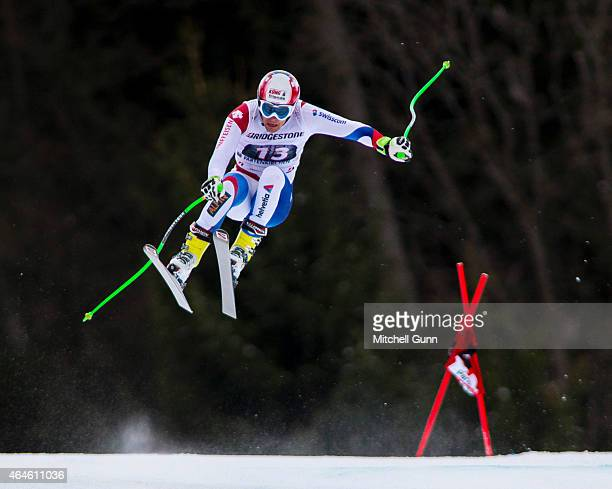 Patrick Kueng of Switzerland races down the Kandahar course during the Audi FIS Alpine Ski World Cup Downhill training on February 27 2015 in...