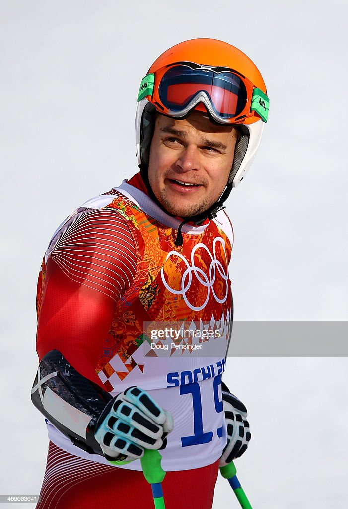 Patrick Kueng of Switzerland reacts after a run during the Alpine Skiing Men's Super-G on day 9 of the Sochi 2014 Winter Olympics at Rosa Khutor Alpine Center on February 16, 2014 in Sochi, Russia.