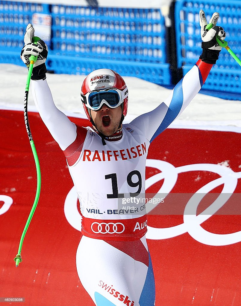 Patrick Kueng of Switzerland reacts after crossing the finish of the Men's Downhill in Red Tail Stadium on Day 6 of the 2015 FIS Alpine World Ski Championships on February 7, 2015 in Beaver Creek, Colorado.