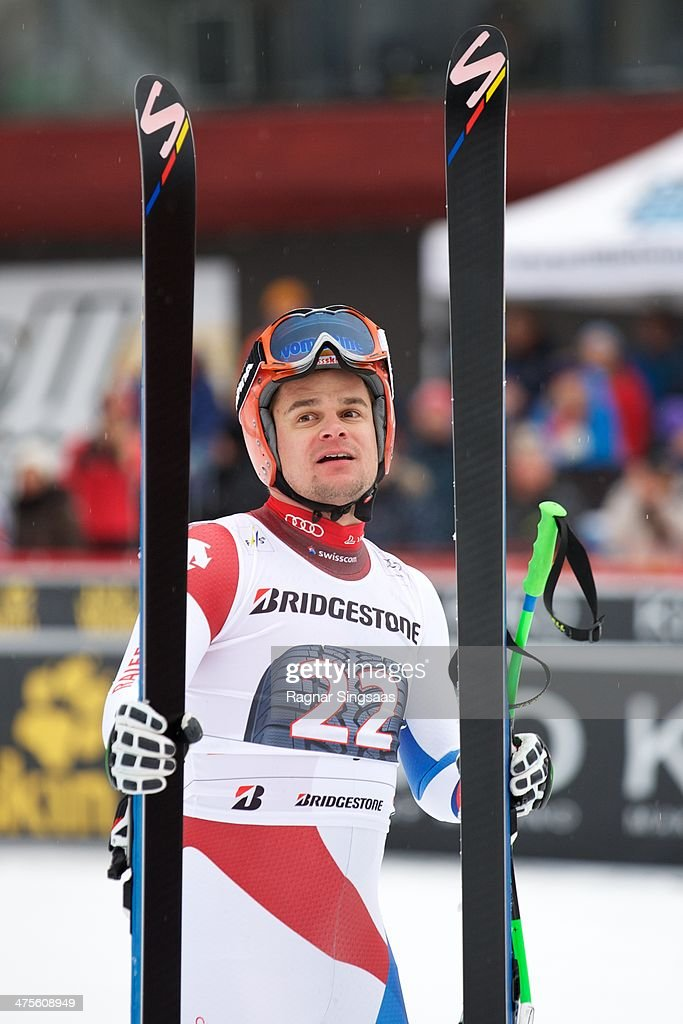 Patrick Kueng of Switzerland reacts in the finish area during the Audi FIS Alpine Ski World Cup Men's Downhill on February 28, 2014 in Ringebu, Norway.