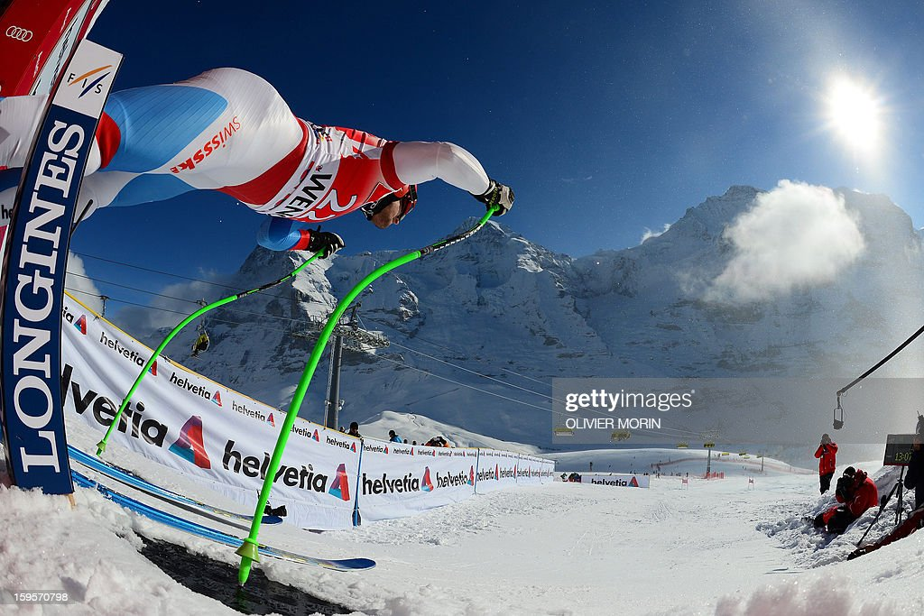 Patrick Kueng of Switzerland takes the start of the Men's World Cup Downhill training on January 16 2013 in Wengen AFP PHOTO / OLIVIER MORIN