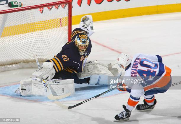 Patrick Lalime of the Buffalo Sabres makes a pad save on Michael Grabner of the New York Islanders at HSBC Arena on January 21 2011 in Buffalo New...