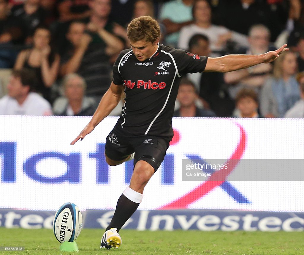 <a gi-track='captionPersonalityLinkClicked' href=/galleries/search?phrase=Patrick+Lambie&family=editorial&specificpeople=6849711 ng-click='$event.stopPropagation()'>Patrick Lambie</a> of Sharks kicks during the Super Rugby match between The Sharks and Crusaders from Kings Park on April 05, 2013 in Durban, South Africa.