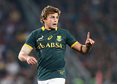 Patrick Lambie of South Africa looks on during the Rugby Championship match between the South African Springboks and the New Zealand All Blacks at...