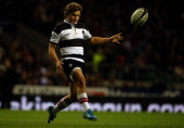 Patrick Lambie of the Barbarians in action during the Killik Cup match between the Barbarians and Fiji at Twickenham Stadium on November 30 2013 in...