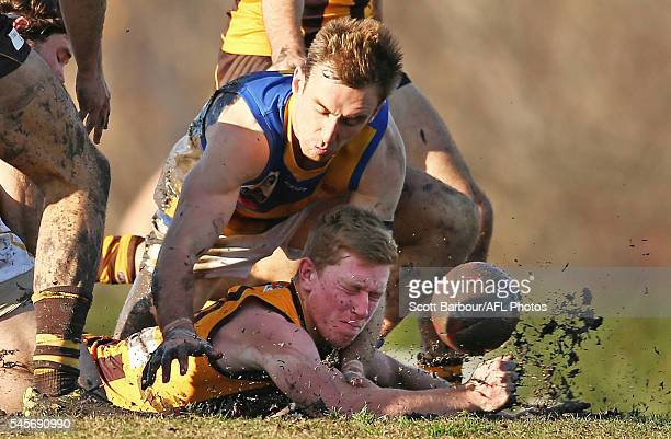 Patrick Lawlor of Box Hill competes for the ball during the round 14 VFL match between Box Hill and Williamstown at City Oval on July 9 2016 in...