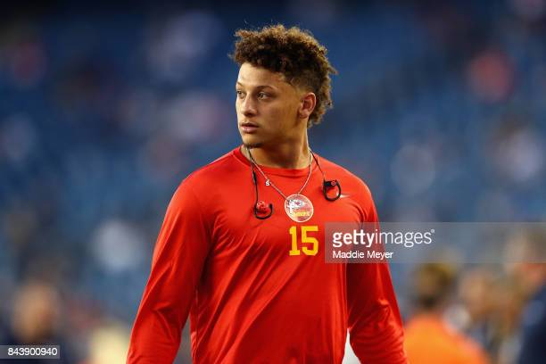 Patrick Mahomes II of the Kansas City Chiefs looks on before the game against the New England Patriots at Gillette Stadium on September 7 2017 in...
