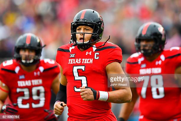 Patrick Mahomes II of the Texas Tech Red Raiders leads the offense on to the field during the game against the Texas Longhorns on November 5 2016 at...