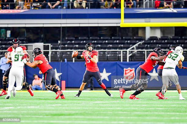 Patrick Mahomes II of the Texas Tech Red Raiders looks to pass during the first half of the game against the Baylor Bears on November 25 2016 at ATT...
